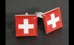 Manschettenknöpfe Flagge Schweiz - 18 x 12 mm