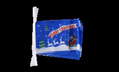 Fahnenkette Merry Christmas Weihnachtsmann mit Schlitten - 15 x 22 cm