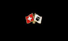Freundschaftspin Schweiz - Frankreich Korsika - 22 mm