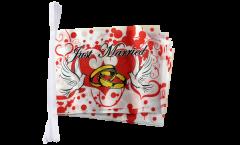 Fahnenkette Just Married Tauben - 30 x 45 cm