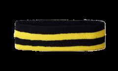 Stirnband Streifen Schwarz Gelb - 6 x 21 cm
