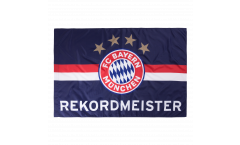 Flagge mit Hohlsaum FC Bayern München Rekordmeister blau - 100 x 150 cm