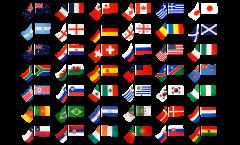 Stockflaggen-Set Fussball 2010, 32 Nationen - 30 x 45 cm