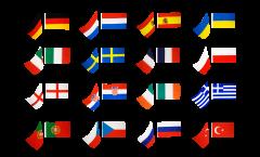 Fahnenkette Fussball 2012, 16 Nationen - 15 x 22 cm