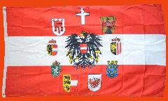 Flagge Österreich mit Adler und Wappen der 9 Länder - 90 x 150 cm