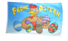 Flagge Frohe Ostern Henne und Eier - 90 x 150 cm