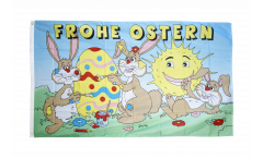 Flagge Frohe Ostern mit lachender Sonne
