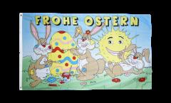 Flagge Frohe Ostern mit lachender Sonne - 90 x 150 cm