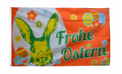 Flagge Frohe Ostern orange mit Osterhase - 90 x 150 cm