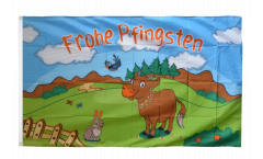 Flagge Frohe Pfingsten mit Kuh - 90 x 150 cm