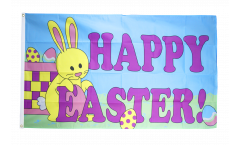 Flagge Happy Easter mit Osterhase - 90 x 150 cm