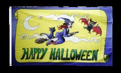 Flagge Happy Halloween gelb - 90 x 150 cm