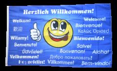 Flagge Herzlich Willkommen Smily