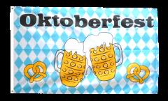 Flagge Oktoberfest Bierkrug und Brezel - 90 x 150 cm