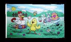 Flagge Ostern mit Küken und Henne - 90 x 150 cm