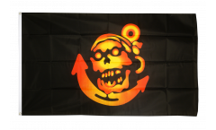 Flagge Pirat golden mit Anker - 90 x 150 cm