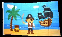 Flagge Pirat Insel mit Schatz - 90 x 150 cm