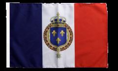 Flagge mit Hohlsaum Frankreich mit königlichem Wappen