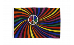 Flagge mit Hohlsaum Regenbogen Peace Swirl