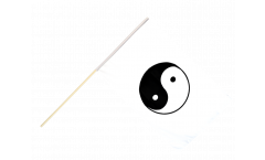 Stockflagge Ying und Yang, weiß