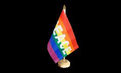 Tischflagge Regenbogen mit PEACE